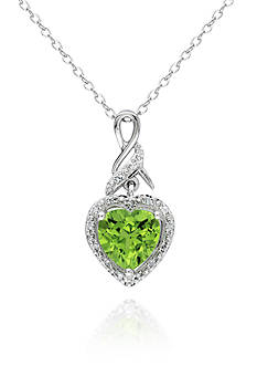 Belk & Co. Sterling Silver Peridot and Diamond Heart Pendant