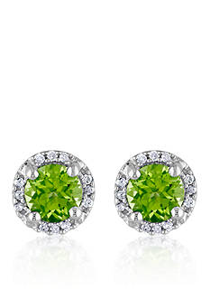 Belk & Co. Sterling Silver Peridot and Diamond Stud Earrings