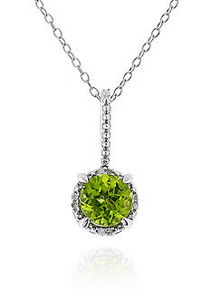 Belk & Co. Sterling Silver Peridot and Diamond Pendant