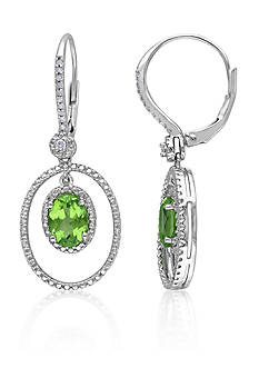 Belk & Co. Sterling Silver Peridot and Diamond Earrings