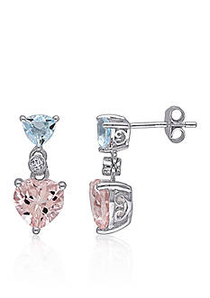 Belk & Co. Sterling Silver Morganite, Blue Topaz, and Diamond Heart Earrings
