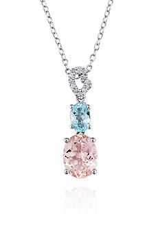Belk & Co. Sterling Silver Morganite, Blue Topaz, and Diamond Pendant
