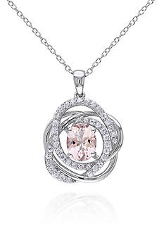 Belk & Co. Sterling Silver Morganite and White Sapphire Pendant