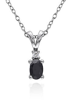 Belk & Co. Black Sapphire and Diamond Pendant in Sterling Silver