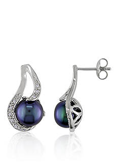 Belk & Co. Sterling Silver Black Cultured Freshwater Pearl and Diamond Earrings