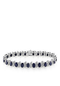 Belk & Co. Sterling Silver Black Sapphire and Diamond Bracelet