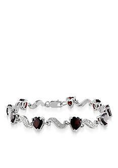 Belk & Co. Sterling Silver Garnet and Diamond Bracelet