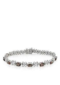 Belk & Co. Sterling Silver Smokey Quartz and Diamond Bracelet