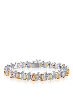 Belk & Co. Sterling Silver Citrine and Diamond Bracelet