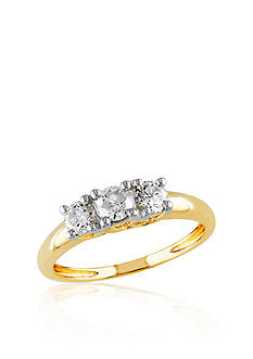 Belk & Co. 1/2 ct. t.w. Diamond Three Stone Engagement Ring in 14k Yellow Gold