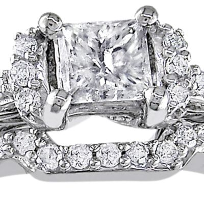 multi-piece fine jewelry: White Belk & Co. 1/2 ct. t.w. Diamond Bridal Ring Set in 10k White Gold