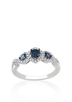 Belk & Co. Blue and White Diamond 3 Stone Ring in 14k White Gold