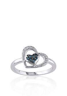 Belk & Co. Blue Diamond Heart Ring in Sterling Silver