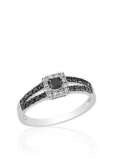 Belk & Co. Black and White Diamond Ring in 10k White Gold