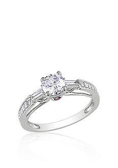 Belk & Co. Diamond and Pink Sapphire Engagement Ring in 14k White Gold<br>