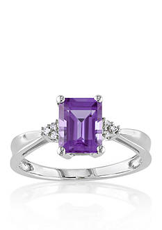 Belk & Co. 10k White Gold Amethyst and Diamond Ring