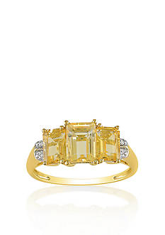 Belk & Co. 14k Yellow Gold 3 Stone Citrine and Diamond Ring
