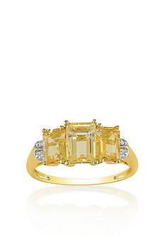 Belk & Co. 10k Yellow Gold 3 Stone Citrine and Diamond Ring