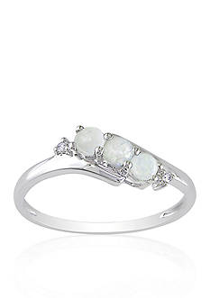 Belk & Co. 10k White Gold Opal and Diamond Ring