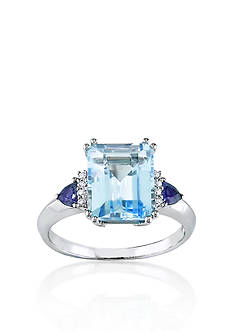 Belk & Co. 14k White Gold Blue Topaz, Sapphire, and Diamond Ring