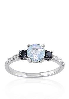 Belk & Co. 10k White Gold Aquamarine and Black and White Diamond Ring