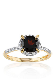 Belk & Co. 10k Yellow Gold Garnet and Diamond Ring