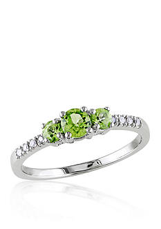 Belk & Co. 10k White Gold 3 Stone Peridot and Diamond Ring