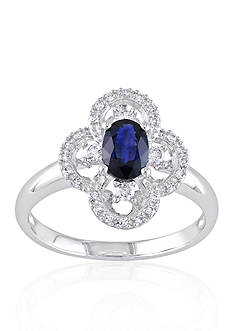 Belk & Co. 10k White Gold Sapphire and Diamond Ring