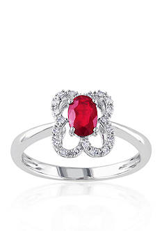 Belk & Co. 10k White Gold Ruby and Diamond Ring