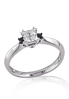 Belk & Co. 1/3 ct. t.w. Black and White Diamond Engagement Ring in 14k White Gold
