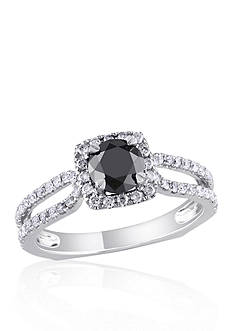 Belk & Co. 1.22 ct. t.w. Black and White Diamond Engagement Ring in 14k White Gold