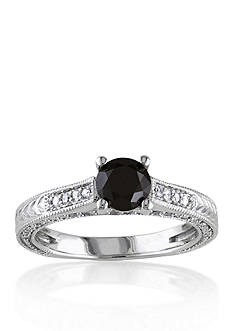 Belk & Co. 1.22 ct.t.w. Black and White Diamond Engagement Ring in 14k White Gold