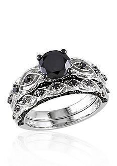 Belk & Co. 1.38 ct. t.w. Black Diamond Bridal Ring Set in 10k White Gold