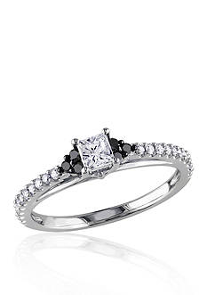 Belk & Co. 1/2 ct. t.w. White and Black Diamond Engagement Ring in 10k White Gold