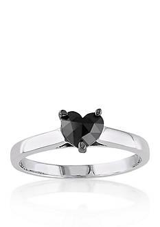 Belk & Co. Black Diamond Solitaire Heart Ring in 10k White Gold