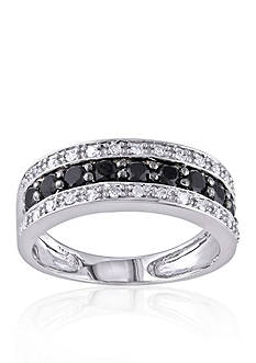 Belk & Co. White and Black Diamond Band in 14k White Gold