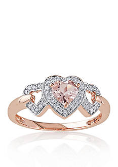 Belk & Co. 10k Rose Gold Morganite and Diamond Three Heart Ring