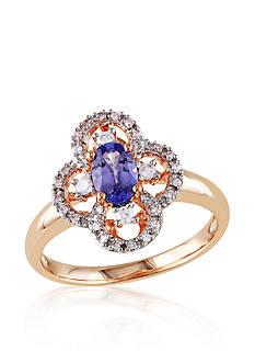 Belk & Co. Tanzanite and Diamond Clover Ring in 10k Rose Gold