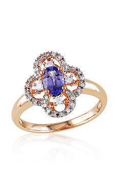 Belk & Co. Tanzanite and Diamond Clover Ring in 10k Rose Gold