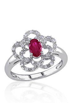 Belk & Co. 14k White Gold Ruby and Diamond Flower Ring