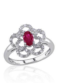 Belk & Co. 14k White Gold Ruby and Diamond Flower Ring