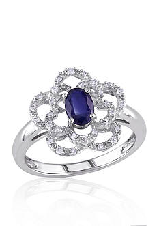 Belk & Co. 14k White Gold Sapphire and Diamond Flower Ring
