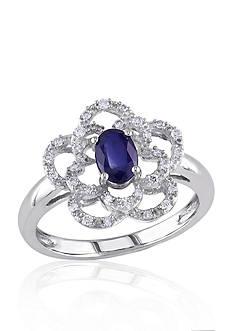 Belk & Co. 14k White Gold Sapphire and Diamond Flower Ring