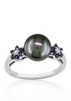 Belk & Co. 10k White Gold Black Tahitian Pearl, Sapphire, and Diamond Ring
