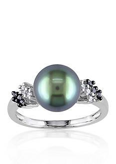 Belk & Co. 10k White Gold Black Tahitian Pearl and Black and White Diamond Ring