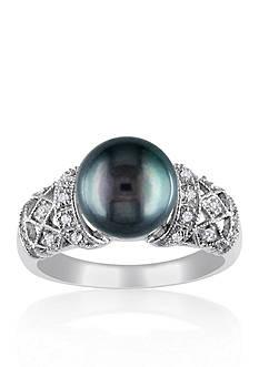 Belk & Co. 14k White Gold Black Tahitian Pearl and Diamond Ring