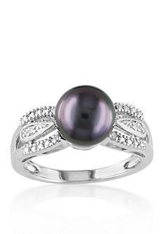 Belk & Co. Sterling Silver Black Tahitian Pearl and Diamond Ring