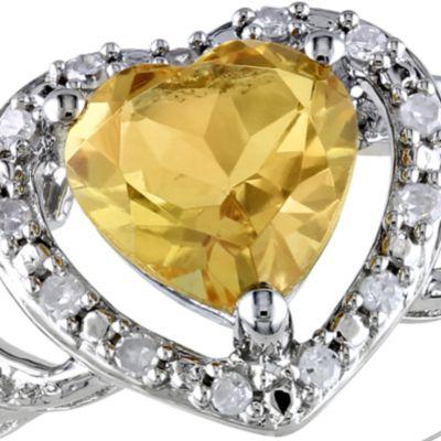 November birthstone citrine jewelry: Yellow Belk & Co. Sterling Silver Citrine and Diamond Ring