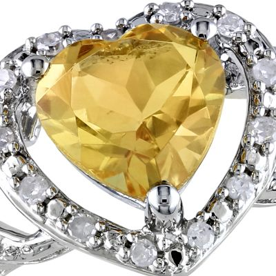 November birthstone citrine jewelry: Yellowi Belk & Co. X- RG CIT HRT W/ DIA ARND