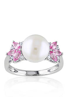 Belk & Co. 10k White Gold Cultured Freshwater Pearl, Diamond, and Pink Sapphire Ring